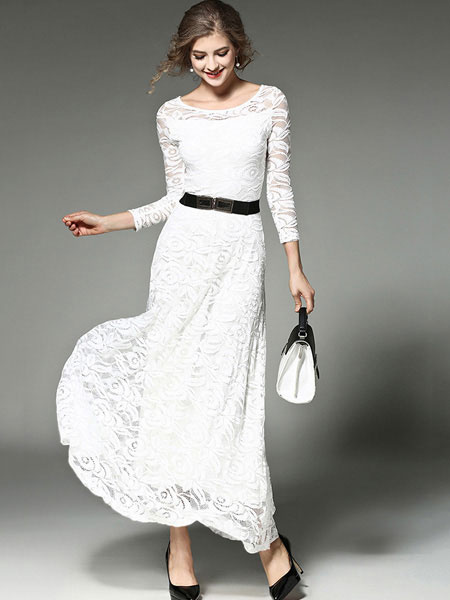 Maxi Lace Dress White Bodycon Women's Illusion 3/4 Sleeve Round Neck Tierd Long Dress