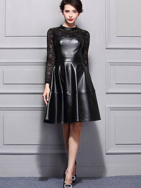Black Lace Dress Round Neck Long Sleeve Slim Fit Pleated Skater Dress фото