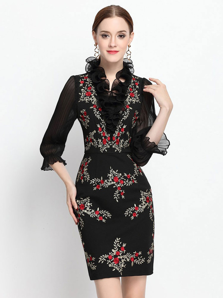 Black Bodycon Dress Half Sleeve Embroidered Ruffle Party Dress фото