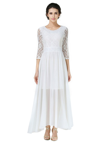 Chiffon Maxi Dress White Round Neck 3/4 Length Sleeve Pleated Long Dress фото