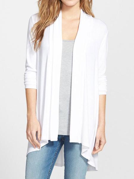 Women's White Cardigan Long Sleeve High Low Casual Flayaway Cardigan фото