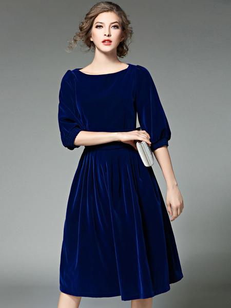 Blue Velvet Dress Women's Half Sleeve Round Neck Pleated A Line Dress Milanoo