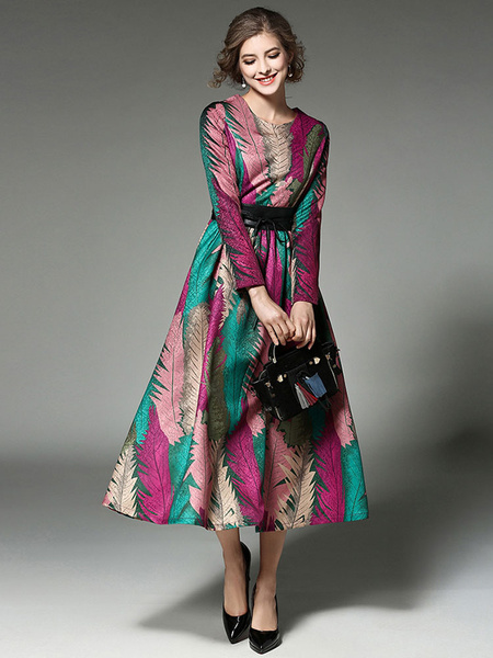 Women's Maxi Dress Feathers Printed Long Sleeve Round Neck Tie Waist Long Dress