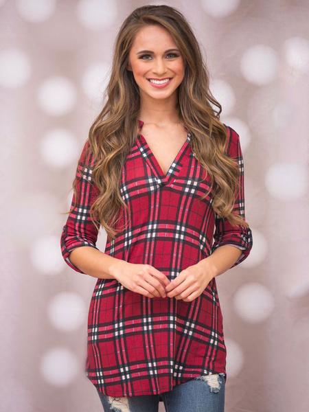 Burgundy Plaid Shirt V Neck Women's Long Sleeve Irregular Cotton Casual Tops