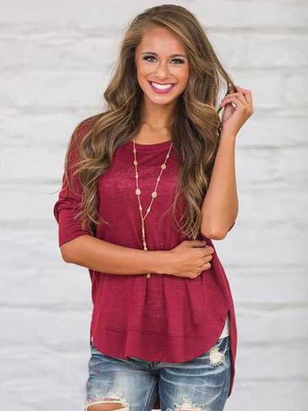 Burgundy Women's T Shirt High Low 3/4 Sleeve Side Slit Round Neck Casual Cotton T-shirt