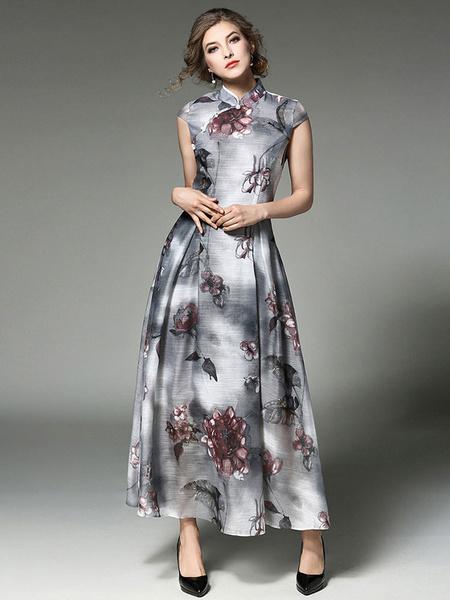 Modisches Kleid aus Acetate mit Stehkragen und Knöpfen und Print in Grau