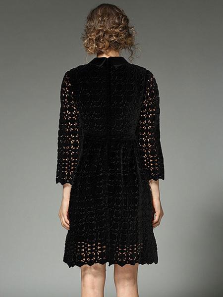 Milanoo / Encaje negro vestido Collar cobertura manga larga corte Slim Fit vestido Skater