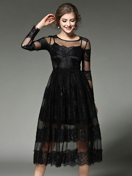 Black Maxi Dress Lace Patchwork Illusion Long Sleeve Women's Round Neck Semi Sheer Long Dress In 2 P фото