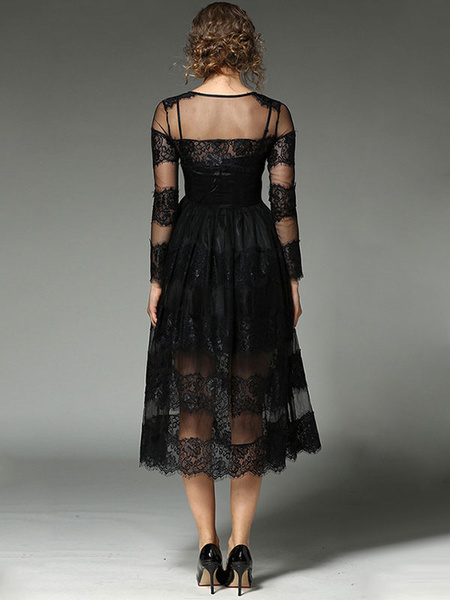Milanoo / Vestido largo de encaje negro con escote redondo Color liso de encaje con manga larga estilo moderno