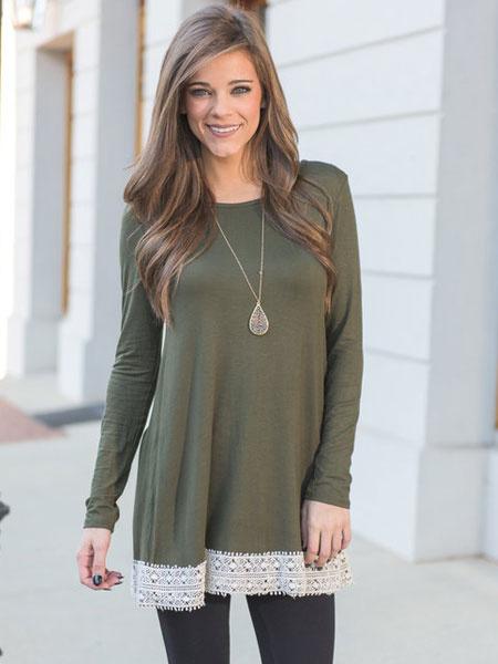 Hunter Green T Shirt Women's Long Sleeve Lace Edge Round Neck Casual T-shirts