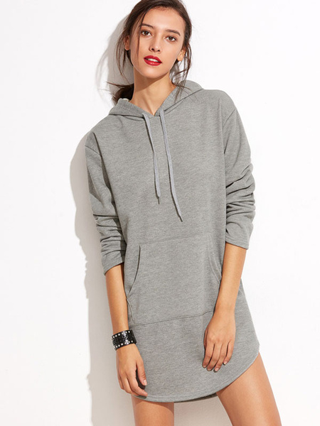 Longline Grey Hoodie Women's Casual Drawstring Hooded Sweatshirt