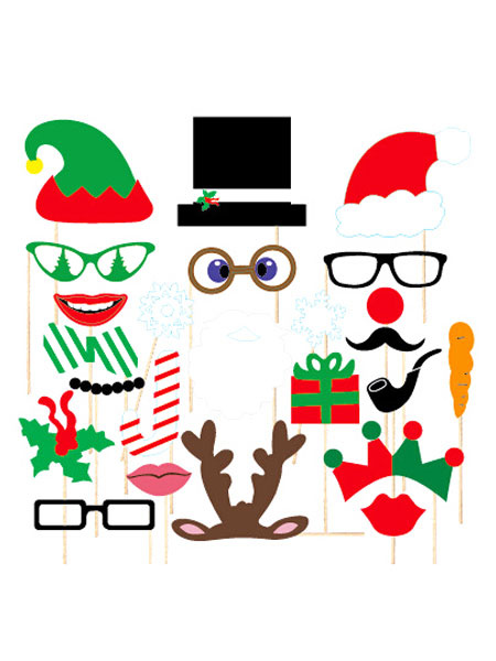 Christmas Photo Props Multicolor 24 Pcs Party Photo Booth Props фото