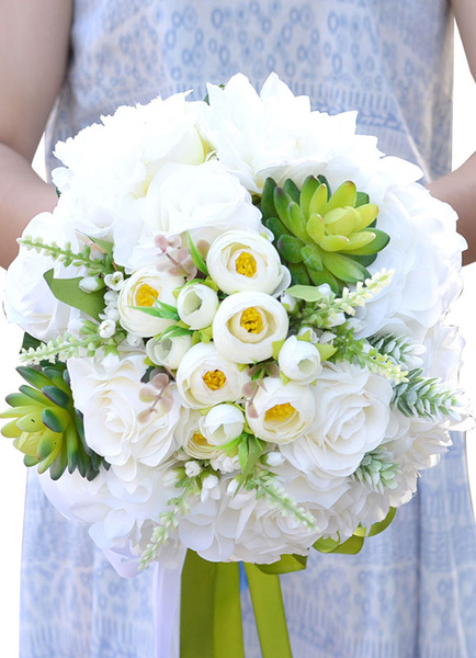 Succulent Wedding Bouquet White Silk Flowers Ribbon Bow Hand Tied Bridal Bouquet