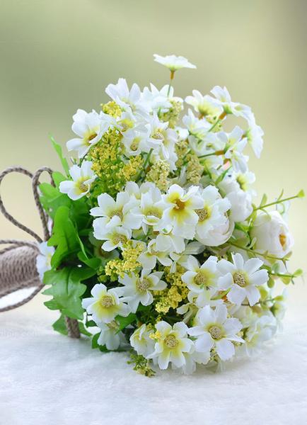 Wedding Flowers Bouquet White Hand Tied Silk Flowers Bridal Bouquet фото