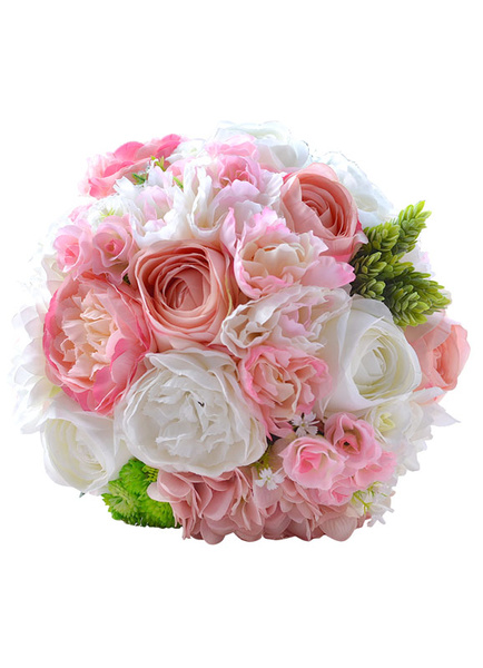 Wedding Flowers Bouquet Pink Ribbons Bow Metal Detail Hand Tied Satin Bridal Bouquet