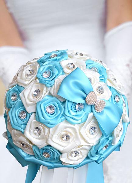 Wedding Flowers Bouquet Satin Pearls Rhinestones Beaded Ribbons Hand Tied Bridal Bouquet In Baby Blu