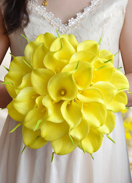 Yellow Wedding Bouquet Silk Flowers Pearls Beaded Ribbon Bows Bridal Bouquet