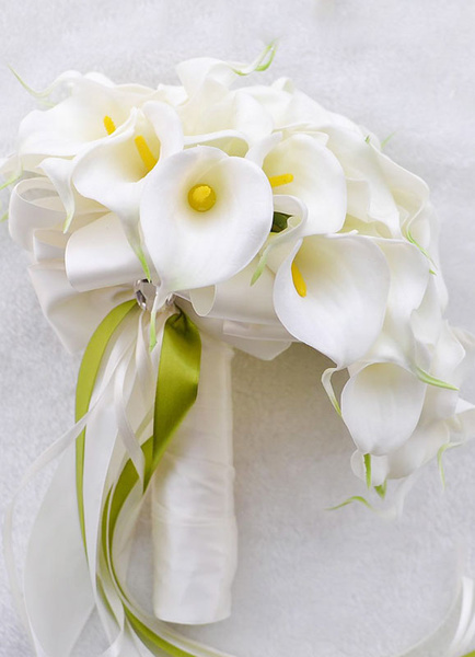 White Wedding Bouquet Silk Flowers Beaded Ribbon Bow Cascading Bridal Bouquet