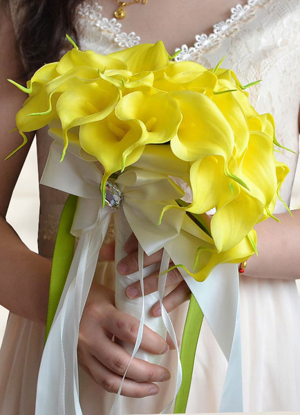 Wedding Flowers Bouquet Yellow Beaded Ribbon Bow Hand Tied Cascading Bridal Bouquet