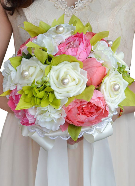 Wedding Flowers Bouquet Pink Multicolor Lace Pearls Ribbon Bow Silk Flower Bridal Bouquet