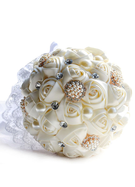 Wedding Flowers Bouquet Pearls Rhinestones Lace Round Shaped Organza Ribbons Silk Bridal Bouquet