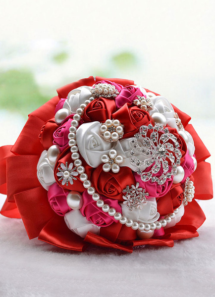 Red Wedding Bouquet Satin Flowers Pearls Strand Rhinestones Beaded Hand Tied Bridal Bouquet