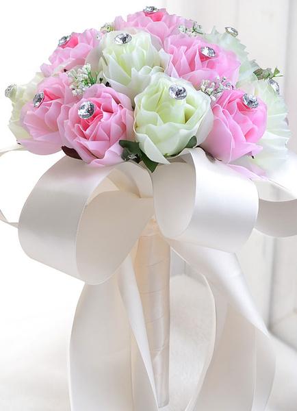 Pink Wedding Bouquet Silk Flowers Rhinestones Ribbons Hand Tied Bridal Bouquet фото
