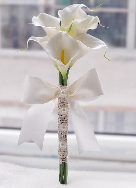 Image of Matrimonio Bouquet perle bianche nastri perline fiocco mano cravatta seta fiori Bouquet fiori sposa