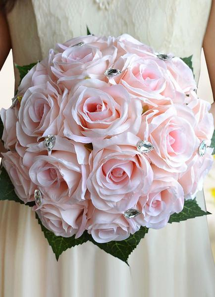 Wedding Flowers Bouquet Light Pink Rhinestones Beaded Ribbons Bow Hand Tied Silk Flowers Bridal Bouq