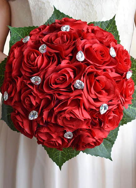 Wedding Flowers Bouquet Red Rhinestones Ribbons Bow Hand Tied Silk Flowers Bridal Bouquet