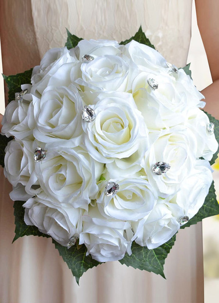 Wedding Flowers Bouquet White Rhinestones Beaded Hand Tied Ribbons Bow Silk Flowers Bridal Bouquet