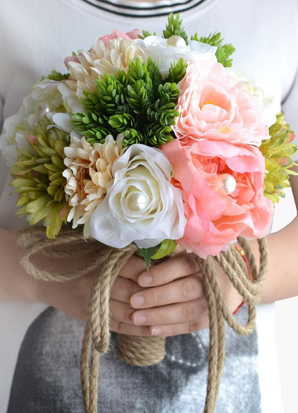 Wedding Flowers Bouquet Pink Pearls Hand Tied Silk Flowers Bridal Bouquet
