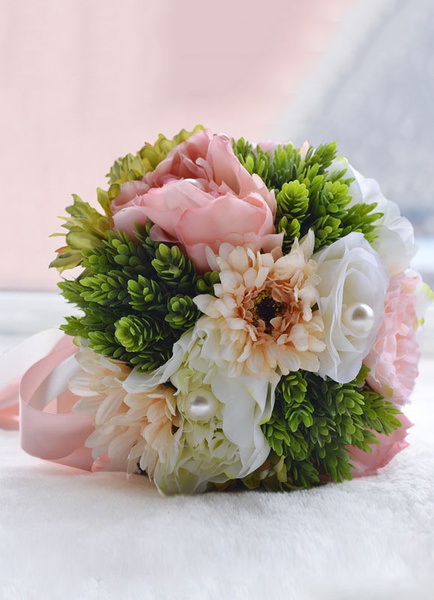 Wedding Flowers Bouquet Pink Pearls Ribbons Bow Hand Tied Silk Flowers Bridal Bouquet