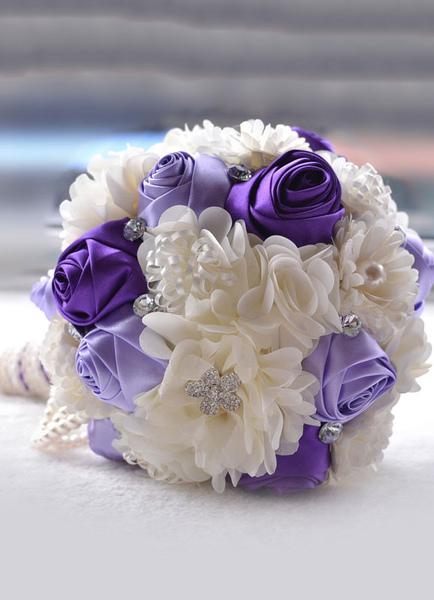 Wedding Flowers Bouquet Rhinestones Pearls Beaded Ribbons Bow Hand Tied Silk Flowers Bridal Bouquet