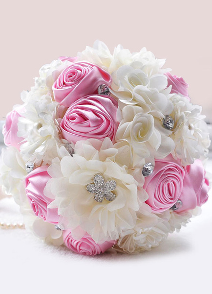 Wedding Flowers Bouquet Pink Ribbons Bow Pearls Hand Tied Silk Flowers Bridal Bouquet