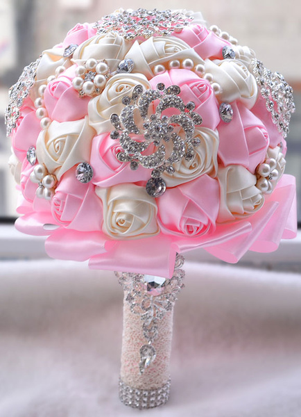 Wedding Flowers Bouquet Pink Rhinestones Pearls Beaded Ribbons Hand Tied Bridal Bouquet