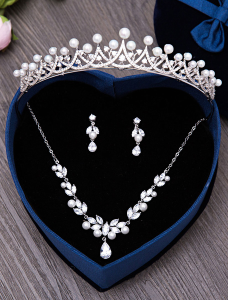 Wedding Jewelry Set Silver Rhinestones Pearls Bridal Tiara With Necklace And Earrings