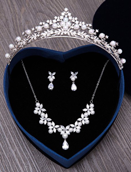 Wedding Jewelry Set Silver Pearls Rhinestones Bridal Jewelry Set In 3 Piece