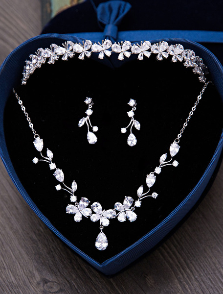 Silver Wedding Jewelry Set Tiara Headpieces Beaded Bridal Necklace With Earrings Milanoo