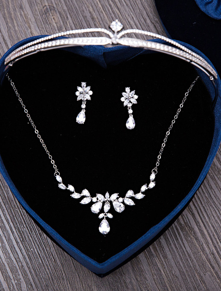 Wedding Jewelry Set Silver Tiara Headpieces Bridal Pendant Necklace With Drop Earrings фото