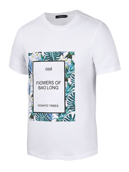 Short Sleeve T Shirt White Men's 3D Printed Flowers Leaves Round Neck Cotton T-shirts