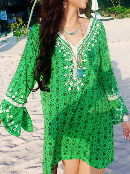 Green Shift Dress Plus Size Boho V Neck 3/4 Length Sleeve Printed Short Dress
