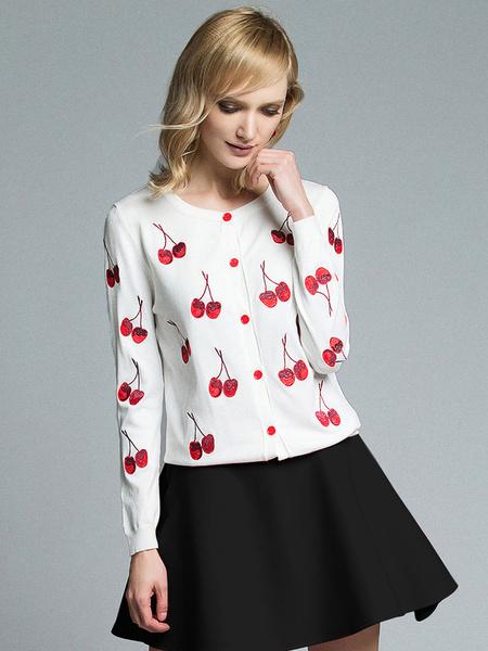 White Sweater Cardigan Cherry Printed Women's Long Sleeve Knit Short Cardigan фото