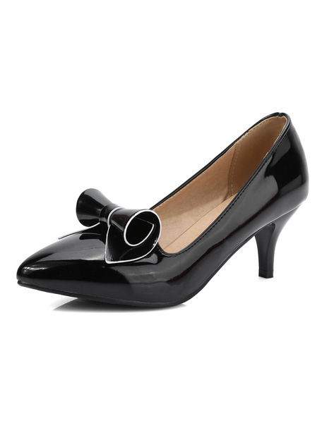 Pointed Toe Pumps Kitten Heel Women's Patent PU Bow Slip On Pump Shoes фото
