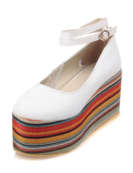 White Flatform Shoes Women's Round Toe Ankle Strap Multicolor Platform Shoes фото