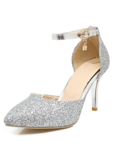 Argento scintillante tacchi punte cinturino alla caviglia elegante sera scarpe Toe donna