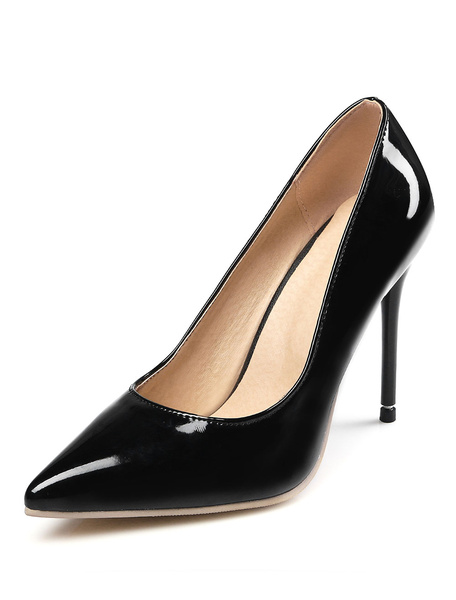 High Heel Pumps Black Pointed Toe PU Stiletto Heel Slip On Shoes For Women