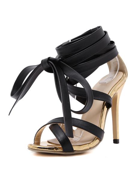 Black Dress Sandals High Heel Open Front Criss Cross Lace Up Ankle Strap Stiletto Heel Sandal Shoes