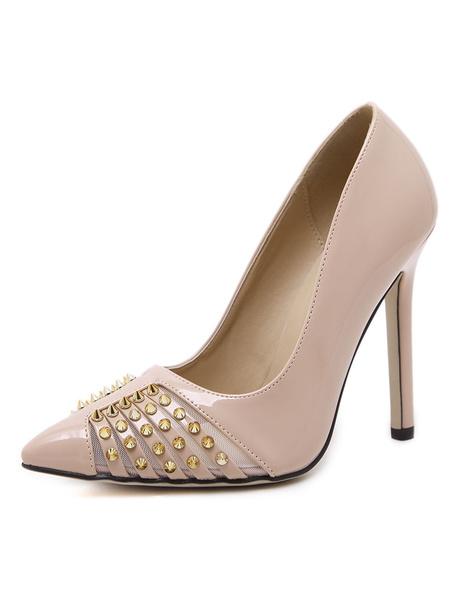 Apricot High Heels Women's Pointed Toe Beaded Slip On Stiletto Heel Pumps фото