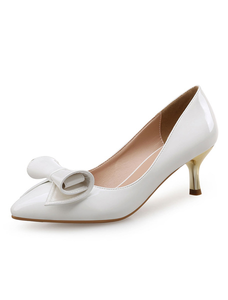 White Kitten Heels Pointed Toe Women's Patent Leather Bow Slip On Pumps фото